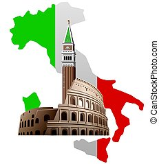 italy with map - concept illustration of italy with map,...