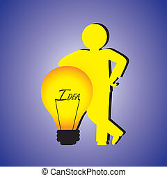 Concept illustration of person with creative ideas. The graphic contains a professional person(businessman) standing besides a bulb with word idea & the concept represents problem solving person