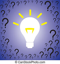 Concept illustration of problem solution. The graphic contains many question marks indicating problems being displaced by brightly lit bulb indicating solution or idea
