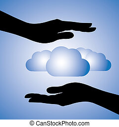 Concept illustration of protecting data(cloud computing). ...