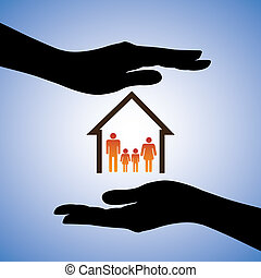 Concept illustration of safety of house and family. The graphic contains symbols of home/residence and parents/children covered by female hand silhouettes. This can represent concepts like insurance