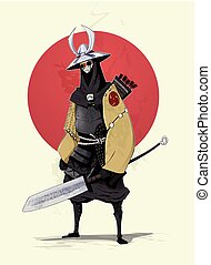 Concept illustration of samurai with red sun on background....