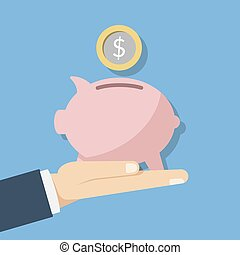 Concept illustration of saving money. Pink piggy piggy bank and a coin or money in the hand of a person. Flat vector illustration
