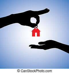 Concept illustration of selling or gifting house in real...