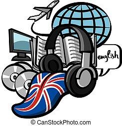 study english language course - concept illustration of ...