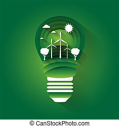 Concept illustration on the theme of preserving the environment and alternative energy sources in light bulb. Paper art. Vector