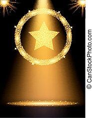 concept, illustration., or, gagnant, star., arrière-plan., vecteur, projecteur