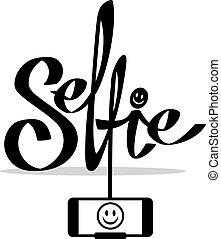 concept, illustration., photo, prendre, téléphone, vector., selfie, intelligent