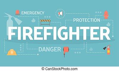 concept, illustration., pompier, pompier, équipement, ensemble