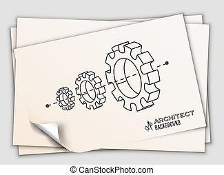 concept., illustration, projet, équipement, vecteur, conception, fond, professionnel, architecte, table