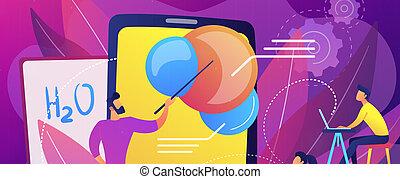 concept, illustration., réalité, vecteur, education, augmented