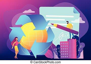 concept, illustration., regering, recycling, vector,...