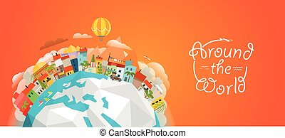 concept, illustration., reizen, illustratie, vector, wereld, ongeveer