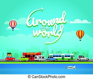 concept, illustration., reizen, vector, wereld, ongeveer