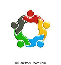 concept., illustration, rendre, collaboration, réunion, 3d