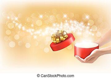concept, illustration., schenking verlenend, boxes., geschenken., vector, achtergrond, kerstmis