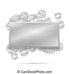 concept, illustration., steampunk, metaal, vector, toestellen, mechanisch, spandoek