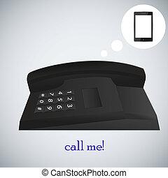 concept, illustration, téléphone, vecteur, ton, design.