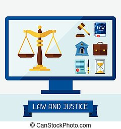 Concept illustration with computer and law icons.