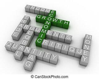 concept, illustration, wordcloud, croissance économique, fond, 3d