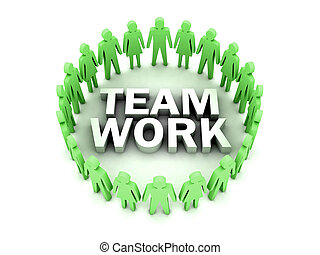 concept, illustration., work., mensen, team, circle., 3d