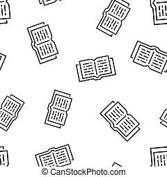 concept, illustration., zakelijk, model, symbool, pattern., seamless, bibliotheek, achtergrond., vector, opleiding, opengeslagen boek, pictogram