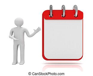 concept., illustrazione, bianco, 3d, calendario, uomo