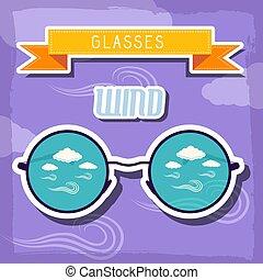 concept., ilustração, vetorial, desenho, retro, fundo, tempo, óculos
