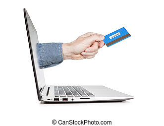 concept, image., crédit, laptop., main, e-commerce, carte, dehors