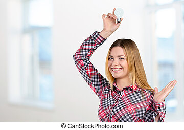 Concept image of a woman with a bright idea