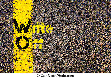 Concept image of Accounting Business Acronym WO Write Off written over road marking yellow paint line.