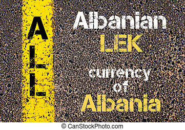 Concept image of Acronym ALL - Albanian LEK, currency of Albania written over road marking yellow paint line