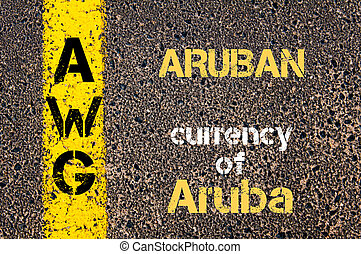 Concept image of Acronym AWG - Aruban, currency of Aruba written over road marking yellow paint line