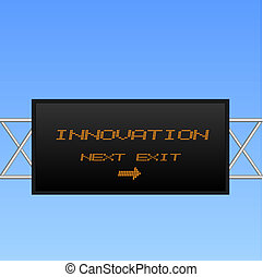 "Concept image of an electronic billboard sign pointing to ""Innovation""."