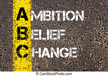 Business Acronym ABC as AMBITION BELIEF CHANGE