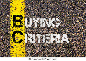 Concept image of Business Acronym BC as Buying Criteria written over road marking yellow paint line.