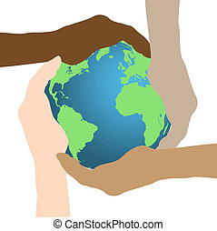 Concept image of hands holding the earth isolated on a white background.