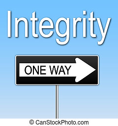 """Concept image of \""""Integrity\"""" with a one way sign."""