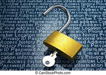 Unlocked padlock and personal information.