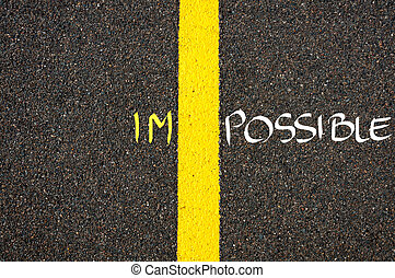 Road marking yellow paint dividing line between IM and POSSIBLE as word IMPOSSIBLE, concept image
