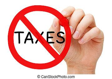 concept, impôt, gratuite, prohibition, signe