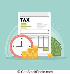 concept, impôt, illustration.
