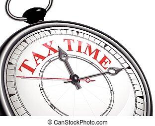 concept, impôt, pointeuse