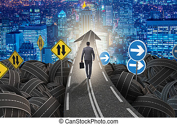 concept, incertitude, homme affaires, crossroa, intersection, route
