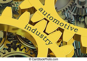 concept, industrie automotrice, rendre, engrenages, 3d