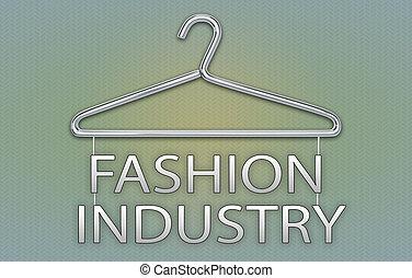 concept, industrie, mode, cintre, bannière, vêtements