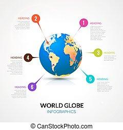 concept, infographic, communication, globe, mondiale, indicateurs, 3d