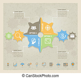 concept, infographic, engrenages, business