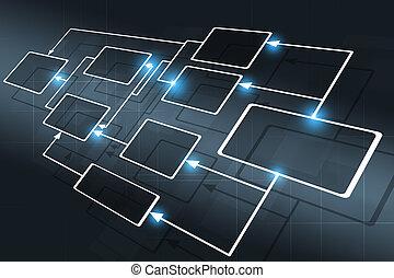concept, informatiestroomschema, zakelijk