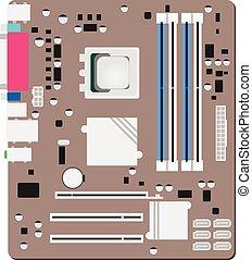 concept, informatique, mainboard, mainboad, try., atx